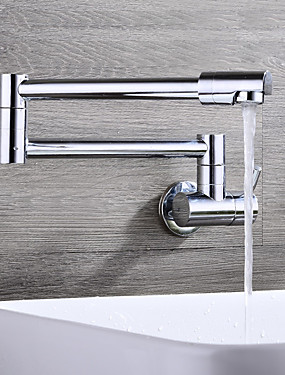 billige Hjem & Hage-Kjøkken Kran - Enkelt Håndtak Et Hull Krom Køkkenkran Vægmonteret Moderne Kitchen Taps