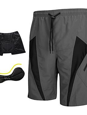 ieftine Sport i aktivnosti na otvorenom-SANTIC Bărbați Pantaloni Scurți cu Burete - Gri Peteci Clasic Bicicletă Pantaloni scurți Pantaloni Scurți Padded Pantaloni Scurți de MTB, Respirabil 3D Pad Uscare rapidă Poliester Spandex