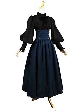 billige Leker og hobbyer-Drakter Victoriansk Vintage Inspireret Kjoler Bluse / Skjorte Dame Jente Kostume Blå / Svart Vintage Cosplay Bomull Langermet Ankellang Store størrelser Tilpasset