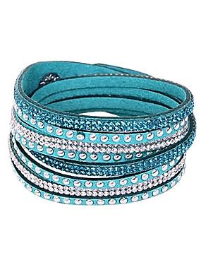 a3fa85c4abd Women s Plaited Wrap cuff Wrap Bracelet Leather Bracelet Leather Rhinestone  Button Ladies Basic European Bohemia Fashion Bracelet Jewelry Green   Blue  ...