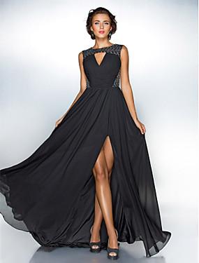 ราคาถูก ร้านแต่งงาน-A-line อัญมณี ชายกระโปรงลากพื้น ชิฟฟอน / เลื่อม หลังสวย / รูกุญแจ / ตัดออก Prom แต่งตัว กับ เลื่อม / พลีท โดย TS Couture® / ทางการ