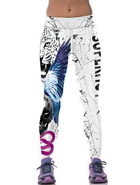 저렴한 스포츠 & 아웃도어-여성용 요가 바지 스포츠 동물 3/4 스타킹 레깅스 줌바 달리기 피트니스 스포츠웨어 통기성 빠른 드라이 스트레치