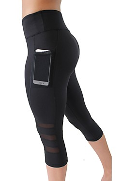 cheap Running & Trail-Women's Pocket Yoga Pants Black Sports Fashion Mesh High Rise 3/4 Tights Leggings Zumba Exercise & Fitness Running Activewear Breathable Fast Dry Tummy Control Stretchy Skinny