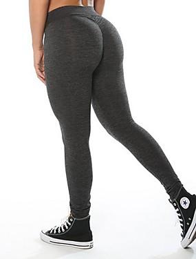 abordables Sports & Loisirs-Femme 3D Pantalon de yoga Des sports Couleur unie Coton Collants Zumba Course / Running Fitness Tenues de Sport Respirable Séchage rapide Elastique / Ruched Butt Lifting