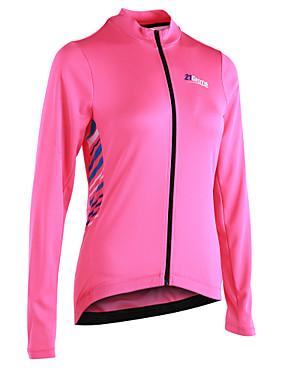 baratos Esporte & Lazer-21Grams Mulheres Manga Longa Camisa para Ciclismo - Rosa claro Riscas Moto Camisa / Roupas Para Esporte, Tiras Refletoras Bolso Traseiro 100% Poliéster / Micro-Elástica / Avançado / Zíper YKK