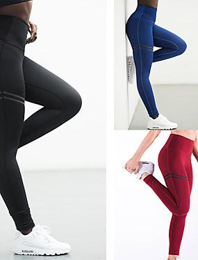 abordables Sports & Loisirs-Femme Maintient les Fesses Pantalon de yoga Des sports Rayure Coton Taille Haute Pantalons / Surpantalons Bas Zumba Exercice & Fitness Course / Running Tenues de Sport Séchage rapide Push Up Contrôle