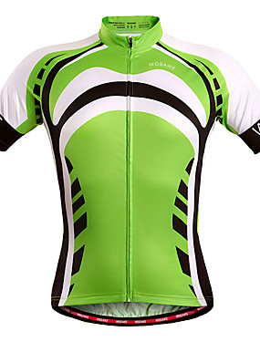 cheap Sports & Outdoors-WOSAWE Men's Women's Short Sleeve Cycling Jersey Stripes Bike Jersey Top Windproof Breathable Quick Dry Sports Polyester Spandex Mountain Bike MTB Road Bike Cycling Clothing Apparel / Stretchy