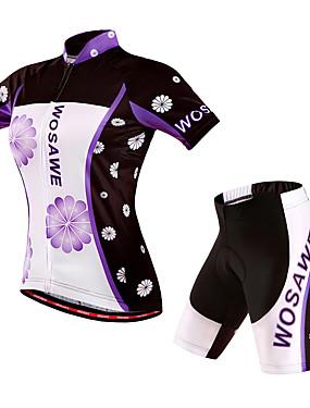 povoljno Sport és outdoor-WOSAWE Žene Kratkih rukava Biciklistička majica s kratkim hlačama Crvena Cvjetni / Botanički Bicikl Kratke hlače Biciklistička majica Podstavljene kratke hlače Vjetronepropusnost Prozračnost Pad 3D