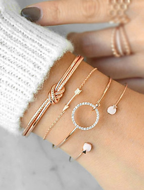 d6db1f209d5 4pcs Women's Cubic Zirconia Bracelet Bangles Cuff Bracelet Twisted Arrow  Knot Ladies Simple Casual / Sporty Boho everyday Rhinestone Bracelet Jewelry  Gold ...