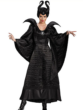 cheap Toys & Hobbies-Witch Fairytale Cosplay Cosplay Costume Party Costume Women's Christmas Halloween Carnival Festival / Holiday Polyster Outfits Black Solid Color
