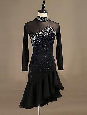 cheap Weddings & Events-Latin Dance Dresses Women's Performance Spandex Crystals / Rhinestones Long Sleeve Dress