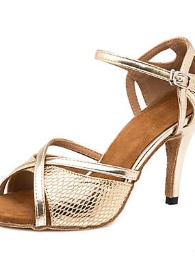 povoljno Kupuj više, štedi više-Žene PU Cipele za latino plesove Isprepleteni dijelovi Sandale / Tenisice Tanka visoka peta Moguće personalizirati Zlato / Seksi blagdanski kostimi / Koža
