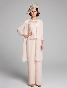 ราคาถูก งานแต่งงาน-pantsuit Bateau Neck ลากพื้น ชิฟฟอน / ลูกไม้ แม่ของชุดเจ้าสาว กับ ลูกไม้ โดย LAN TING BRIDE® / ใช่ / มีผ้าคลุม