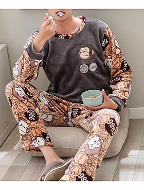 お買い得  メンズパジャマ&バスローブ-ラウンドネック スーツ パジャマ 男性用 ソリッド