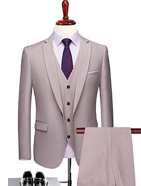 povoljno Vjenčanja i eventi-Jednobojni Kroj po mjeri Poliester Odijelo - Stepenasti Droit 1 bouton / odijela