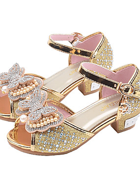 cheap The Wedding Store-Girls' PU(Polyurethane) Sandals Toddler(9m-4ys) / Little Kids(4-7ys) / Big Kids(7years +) Flower Girl Shoes Bowknot / Beading Gold / Silver / Pink Spring & Summer / Fall & Winter / Peep Toe / Rubber