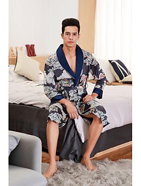 fc3791407e2bb Homme Sexy Satin & Soie Vêtement de nuit - Noeud / Lacet / Imprimé Couleur  Pleine Bleu Vin Chameau L XL XXL / Col en V / Eté