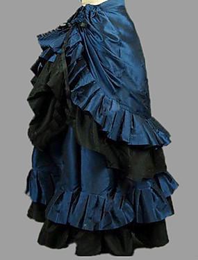 billige Leker og hobbyer-Prinsesse Rokoko Victoriansk Skjørt Party-kostyme Kostume Dame Kostume Blæk Blå Vintage Cosplay Bomull Maskerade Fest / aften Gulvlang Lang Lengde Store størrelser