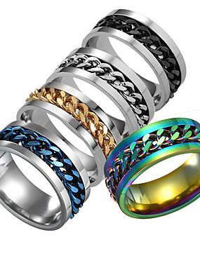 billige Herresmykker-Herre Ring 1pc Sølv / Regnbue / Blå Rustfritt Stål Daglig / Festival Kostyme smykker