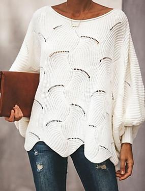 abordables Nouveautés-Femme Couleur Pleine Manches Longues Pullover, Décolleté Rose Claire / Gris / Jaune XL / XXL / XXXL