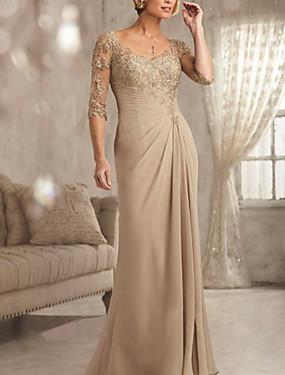 billige Bryllupsbutikken-Tube / kolonne V-hals Gulvlang Chiffon / Blonder Kjole til brudens mor med Blonder av LAN TING Express