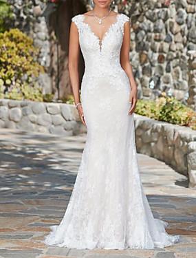baratos Loja de Casamentos-Sereia Decote V Cauda Escova Renda Vestidos de casamento feitos à medida com de LAN TING Express