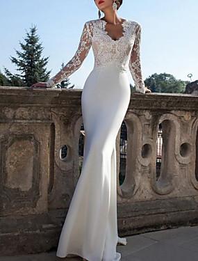 voordelige De Bruiloftswinkel-Trompet / zeemeermin V-hals Strijksleep Kant / Jersey Op maat gemaakte trouwjurken met Lace Insert door LAN TING Express