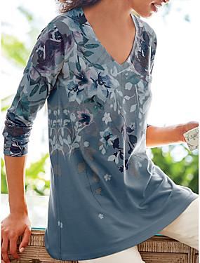 povoljno Novo u ponudi-Majica s rukavima Žene Dnevno Cvjetni print purpurna boja