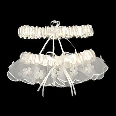 saténové svatební podvazky s perleťovou stuhou svatební doplňkyklasický elegantní styl