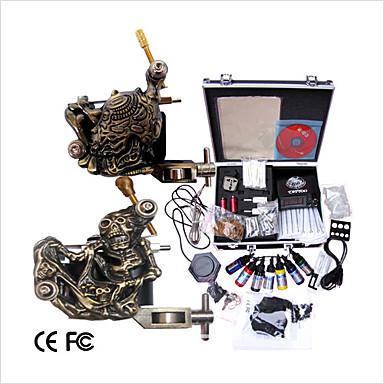 Machine à tatouer Kit de tatouage professionnel - 2 pcs Machines de tatouage, Professionnel LCD alimentation Boîtier Inclus 2 x sculpté machine à tatouer pour la doublure et l'ombrage