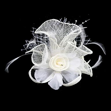prachtige vlas / tule met veren / strass huwelijk bruids-hoofddeksel (meer kleuren)