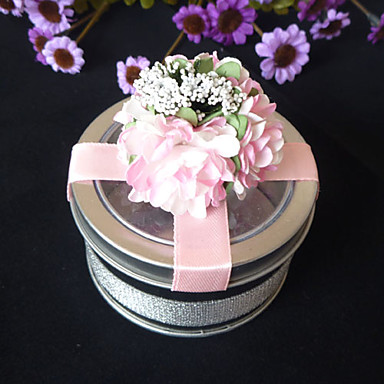 Clear Top Favor Tin With Pink Cross Ribbon (Set of 6)