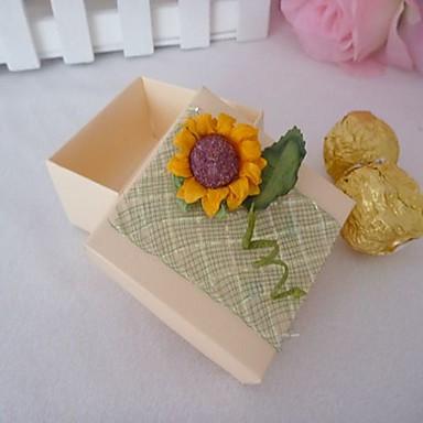 caixa favor quadrado com girassóis (conjunto de 12)