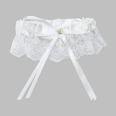 Garter Blonde Polyester Sikning Bånd Hvid