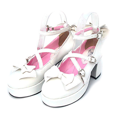 Lolita Shoes Sweet Lolita Dress Sweet Lolita Lace-up High Heel Shoes Bowknot 7.5 CM For PU Leather/Polyurethane Leather Polyurethane