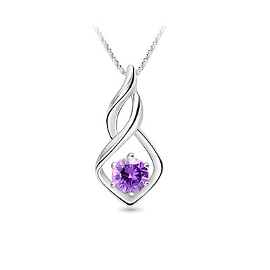 Sterling Silver Twist Pendant With Crystal (More Colors)