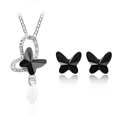 Ladies Crystal Jewelry Sets In Sliver Alloy Including Necklace Earrings More Colors Available