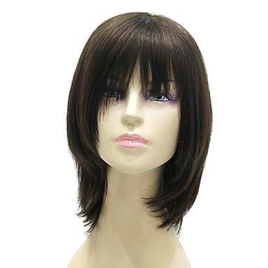 Capless Medium Long Black Silky Straight 100% Human Hair Wig