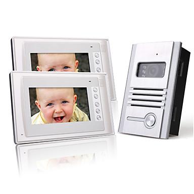 două 7 inch TFT LCD color ușă telefon interfon sistem video (1 camera aliaj)