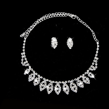 Women's Rhinestone Alloy Wedding Party Anniversary Birthday Engagement Gift Daily Earrings Necklaces Costume Jewelry