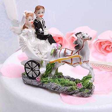 Figurky na svatební dort Zahradní motiv Vozidlo Klasický pár Pryskyřice Svatební Štando s Dárková krabička