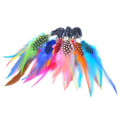5 stuks clip in kleurrijke veren hair extensions - 10 kleuren beschikbaar