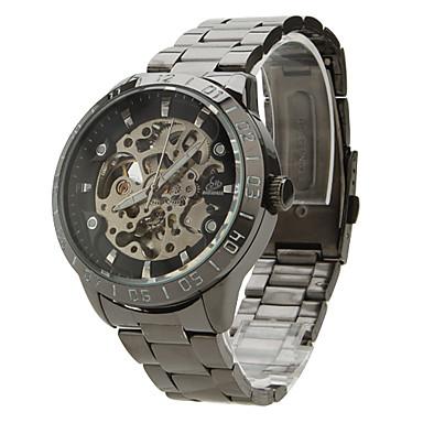 SHENHUA Bărbați Mecanism automat ceas mecanic Ceas de Mână Gravură scobită Oțel inoxidabil Bandă Charm Negru