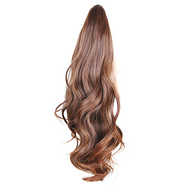 Gerçek Saç Postişleri Sentetik Genişlemeler Dalgalı Sentetik Saç 18 inç Uzun Ek saç Saç örgü 1pc Kadın's Parti / Gece Günlük