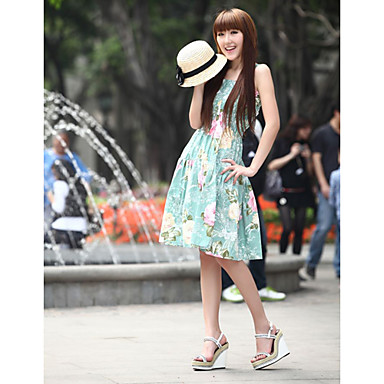 Cotton Sheath/Column Knee-length Sleeveless Sundress (More Colors)