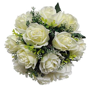 פרחי חתונה עגול ורדים זרים חתונה סאטן שנהב 11.02