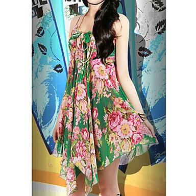 una línea de gasa con cuello en V mini-vestido de verano