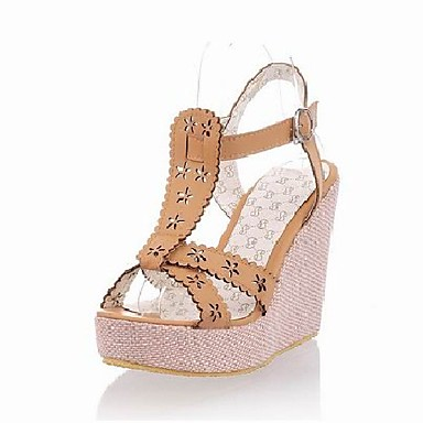 Leatherette Platform Wedge Sandals With Flower/Buckle(More Colors)