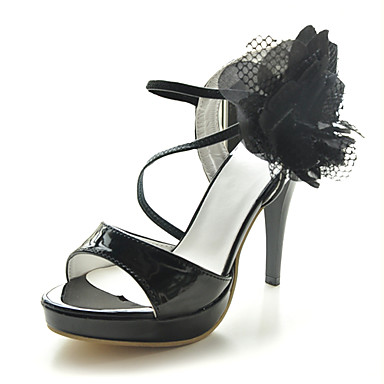 Patent Leather Stiletto Heel Sandals With Flower Party / Evening Shoes (More Colors Available)