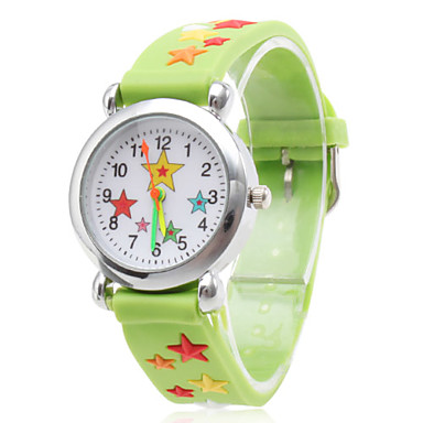 Silicone Analog Quartz Wrist Watch with Cartoon Star (Green) Cool Watches Unique Watches Fashion Watch